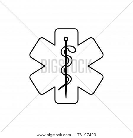 monochrome silhouette of health symbol with star of life vector illustration