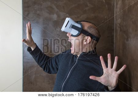 Man With Vr Glasses Terrified