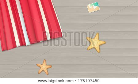 Top view, towel, beach Mat lies on a light wooden background near the starfish and photo. Summer, beach, background with photo, starfishes and copyspace, illustration
