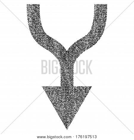 Combine Arrow Down vector textured icon for overlay watermark stamps. Fabric black vectorized texture. Symbol with dirty design. Rubber seal stamp with fiber textile structure.