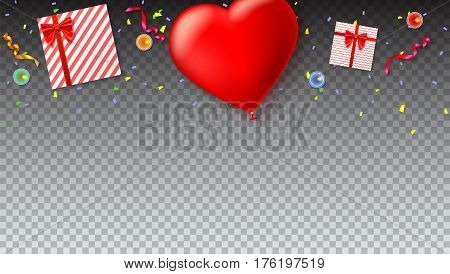 Red inflatable balloon in the shape of a heart with gift boxes, candles, tinsel and confetti on transparent background. Template for creative persons. Background for holiday, festive greetings cards.