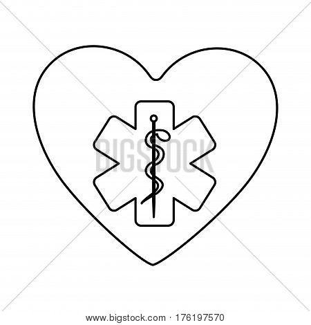 monochrome silhouette of heart with health symbol with star of life . Vector illustration