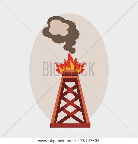Oil industry burning production station extracting cartoon icon energy processing platform petroleum drilling technology factory design vector illustration. Pollution environmental pipe derrick.