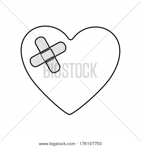 monochrome silhouette of heart with adhesive bandage vector illustration