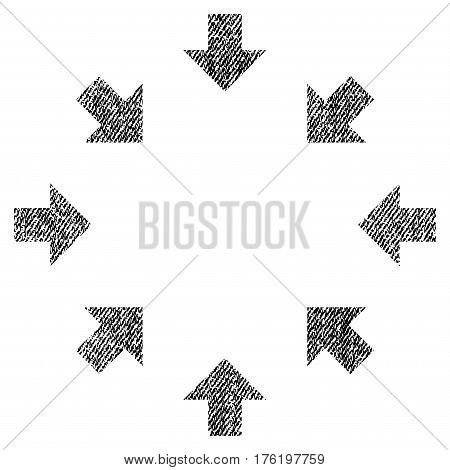 Compact Arrows vector textured icon for overlay watermark stamps. Fabric black vectorized texture. Symbol with dust design. Rubber seal stamp with fiber textile structure.