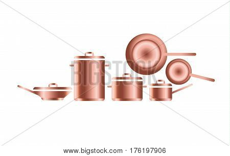 copper utensils for professional kitchens. vector illustration of concept metal dish and pot icon