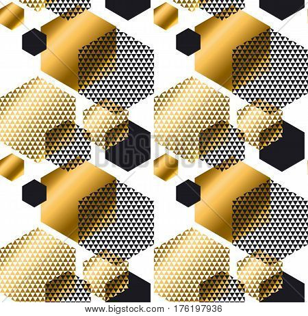 Gold and black color elegant repeatable motif with triangles and hexagon form for wrapping paper or fabric. Modern luxury seamless pattern vector illustration in geometry style.