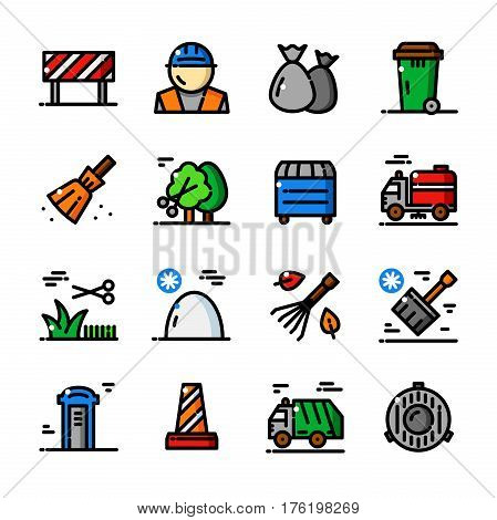 Thin line Municipal services icons set, Cleaning Streets outline logos vector illustration