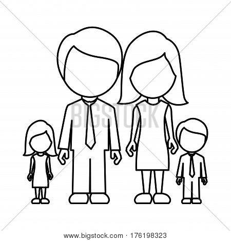 monochrome contour of faceless family group vector illustration
