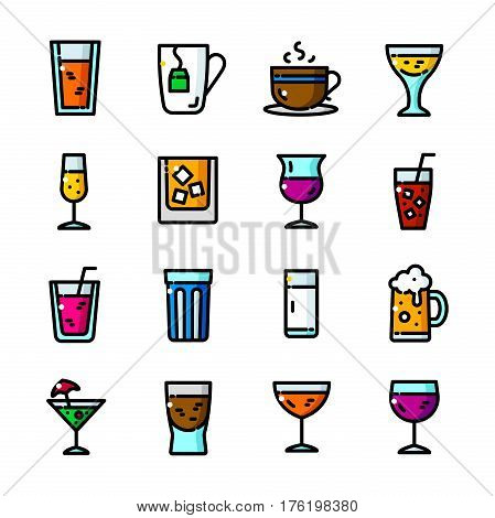 Thin line Drinks icons set, Alcoholic and Non-alcoholic Beverages outline logos vector illustration
