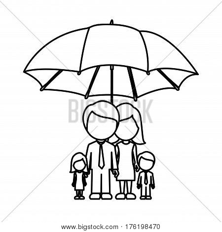 monochrome contour of umbrella protecting faceless family group vector illustration vector illustration