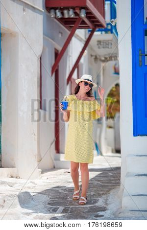 Caucasian tourist walking along the deserted streets of Europe.