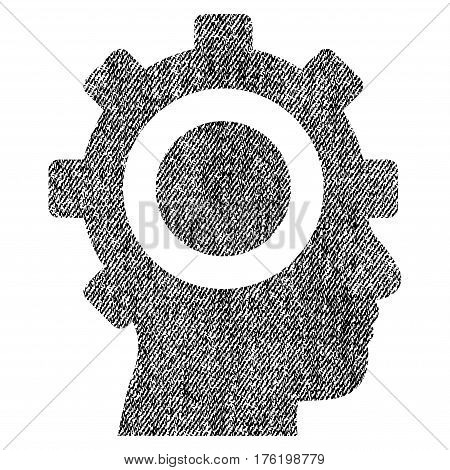 Cyborg Gear vector textured icon for overlay watermark stamps. Fabric black vectorized texture. Symbol with scratched design. Rubber seal stamp with fiber textile structure.