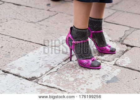 MILAN ITALY - FEBRUARY 26: Detail of shoes outside Ferragamo fashion show during Milan Women's Fashion Week on FEBRUARY 26 2017 in Milan.