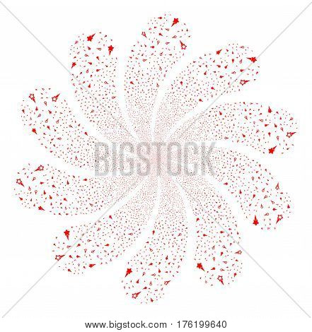 Confetti Stars fireworks swirl flower with ten petals. Vector illustration style is flat red scattered symbols. Object whirl created from random pictographs.