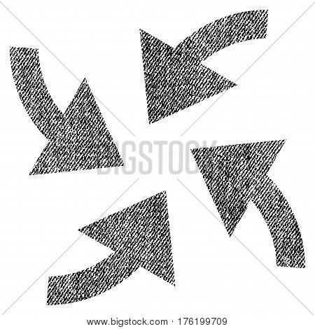 Cyclone Arrows vector textured icon for overlay watermark stamps. Fabric black vectorized texture. Symbol with unclean design. Rubber seal stamp with fiber textile structure.