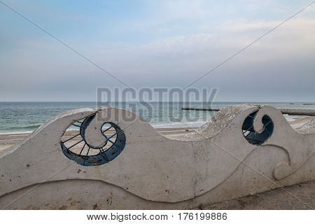Beautiful blue structures of entrance of Odessa beach (14 fontana) Ukraine