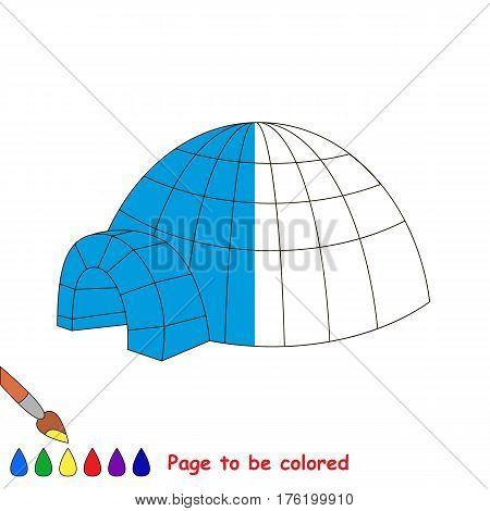 Igloo to be colored, the coloring book to educate preschool kids with easy kid educational gaming and primary education of simple game level.
