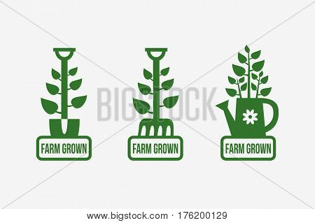 Set of farm grown logo templates design. Vector illustration.