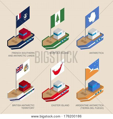Set Of Isometric Ships With Flags Of Countries And Territories