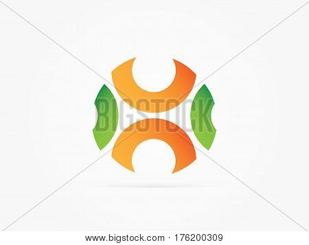Vector Illustration Initial letters UN circle multicolored icon green orens