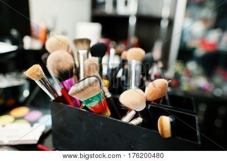 Professional makeup brushes and makeup tools saloon