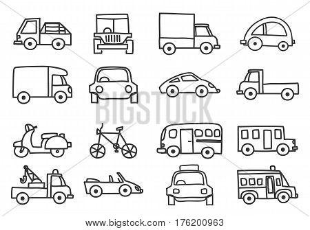car icon set hand drawn vector line aer illustration