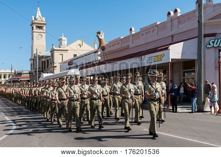 Charters Towers Australia - April 25 2016: Soldiers marching on Anzac Day in Charters Towers Queensland Australia