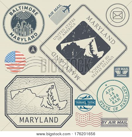 Retro vintage postage stamps set Maryland United States theme vector illustration