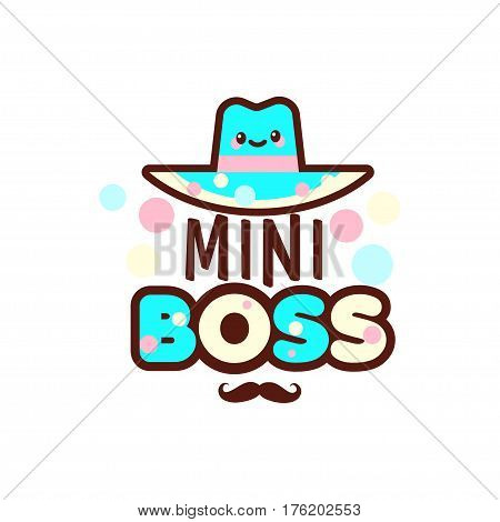 The vector illustration of blue hat and the mini boss text with stylish mustache below. Gift for boy