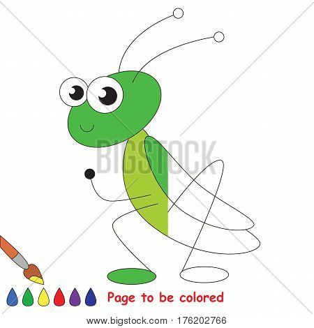 Geen grasshopper to be colored, the coloring book to educate preschool kids with easy kid educational gaming and primary education of simple game level.
