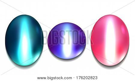 Set of realistic multicolored gems chrysoberyl. Vector element for your creativity