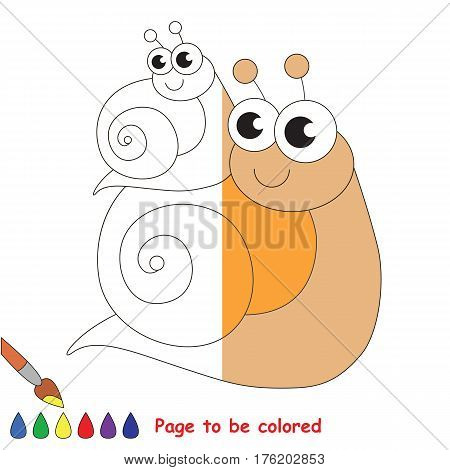 Snail mother and her baby to be colored, the coloring book to educate preschool kids with easy kid educational gaming and primary education of simple game level.
