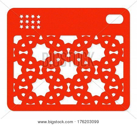 Keychain panel with an oriental style pattern. For laser cutting. Orange textured color on the white background. Vector geometric ornament.