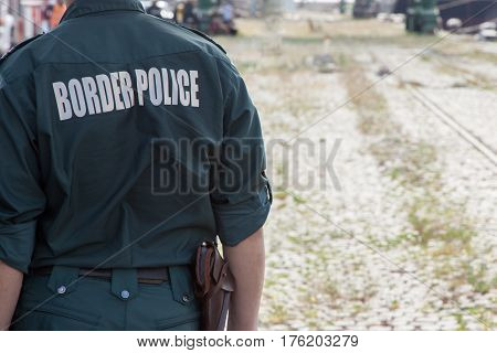 Close up of a border police officer