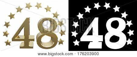 Gold number forty eight decorated with a circle of stars. 3D illustration