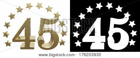 Gold number forty five decorated with a circle of stars. 3D illustration