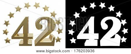 Gold number forty two decorated with a circle of stars. 3D illustration