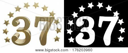 Gold number thirty seven decorated with a circle of stars. 3D illustration