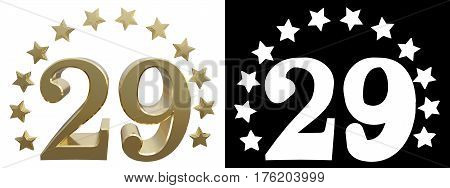 Gold number twenty nine decorated with a circle of stars. 3D illustration