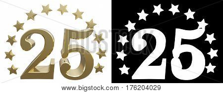 Gold number twenty five decorated with a circle of stars. 3D illustration