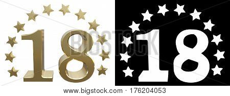 Gold number eighteen decorated with a circle of stars. 3D illustration