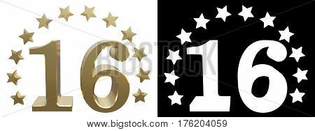 Gold number sixteen decorated with a circle of stars. 3D illustration