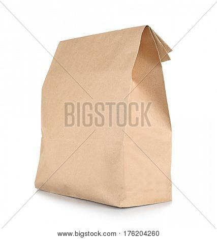Healthy food concept. Paper lunch bag for school children on white background