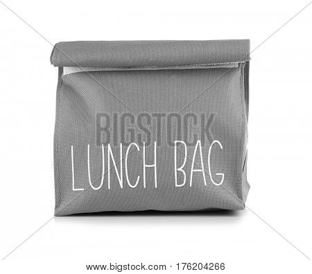 Healthy food concept. Lunch bag for school children on white background