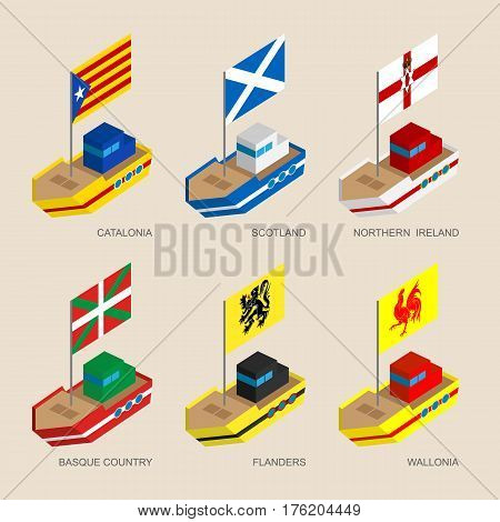 Set Of Isometric Ships With Flags Of European Regions