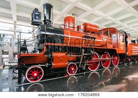 Moscow, Russia - March 11.2017. Steam locomotive U127 - Memorial of Science and Technology of Russian Federation No. 350 Museum of a Railway