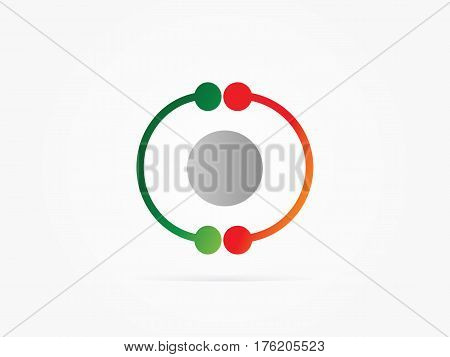 Vector Illustration CC circle logo with atom logo green red