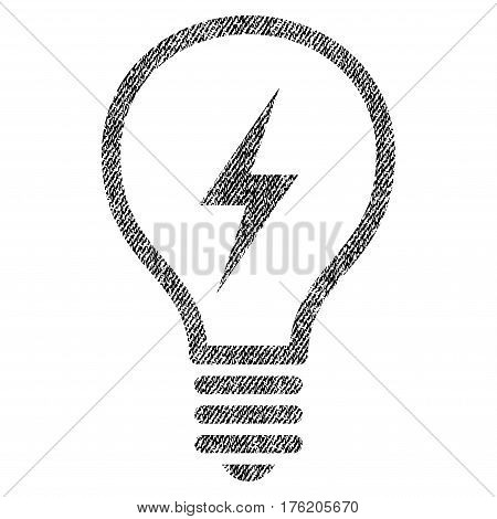 Electric Bulb vector textured icon for overlay watermark stamps. Fabric black vectorized texture. Symbol with dirty design. Rubber seal stamp with fiber textile structure.
