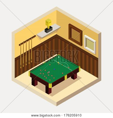 Vector isometric billiard room icon. Room includes snooker table, cues, balls, shelter, champion cup in isometric style. 3d billiard table. Billiard table with balls and cues.